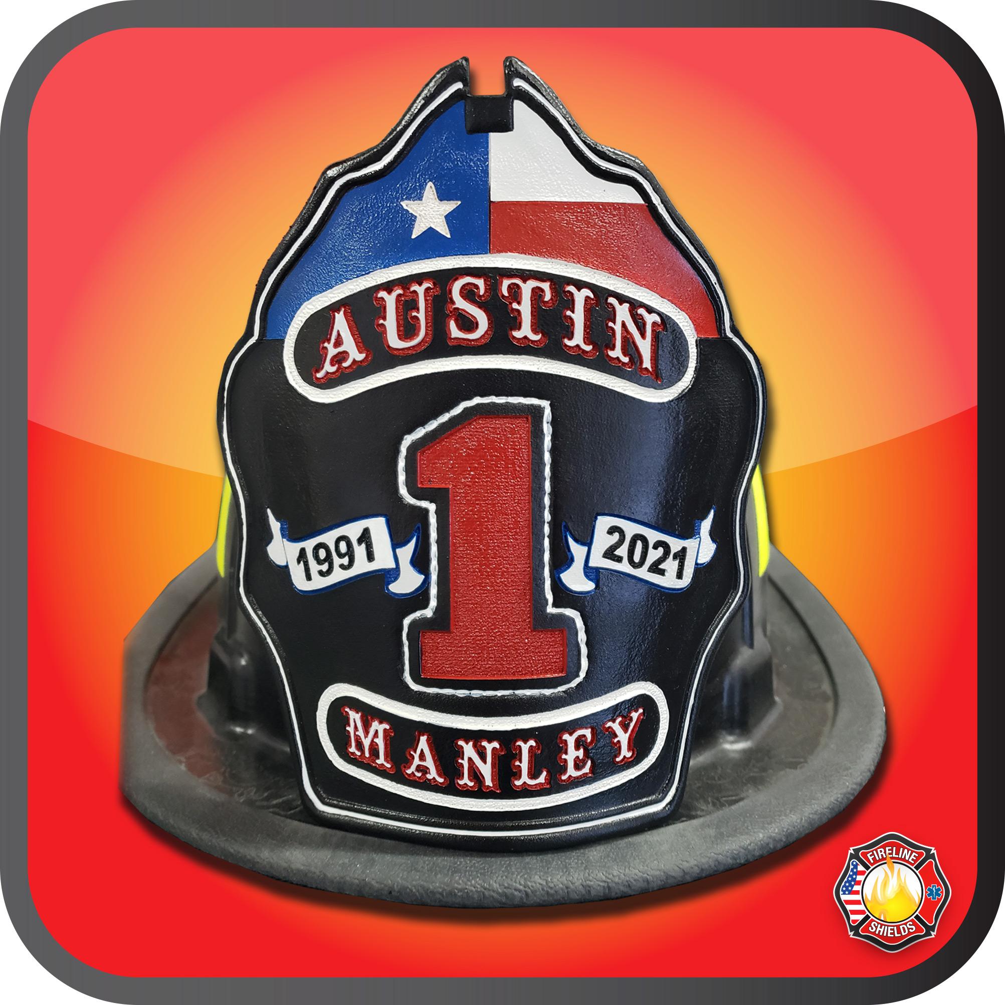 custom leather fire helmet fronts