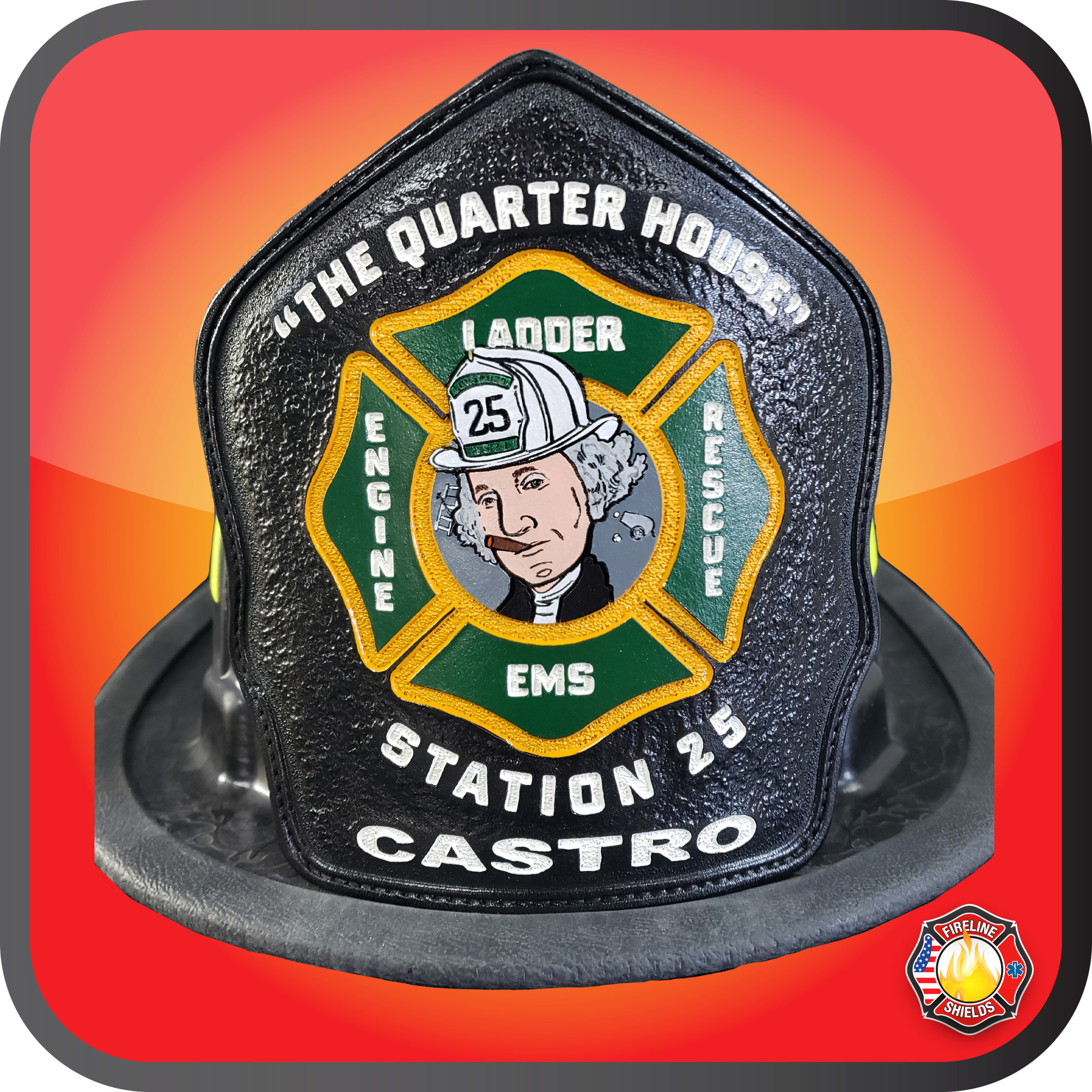 custom fire helmet shield